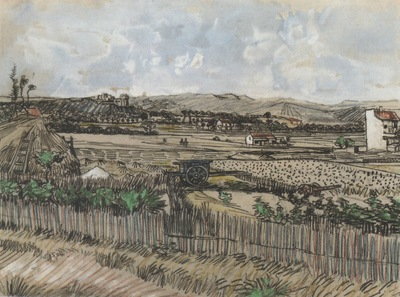 harvest in provence, with montmajour at left, arles