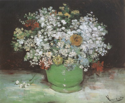 jug with zinnias and other flowers, paris