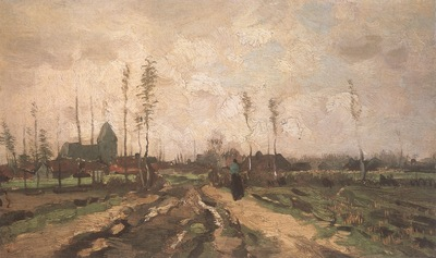 landscape with church and farm, nuenen