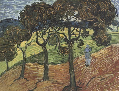 landscape with trees and figure, saint remy