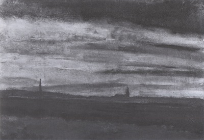 landscape with a church in the dusk, drente