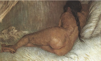 naked woman lying on back view, paris