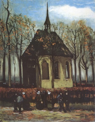 nuenens chapel with devotees walking to the church, nuenen