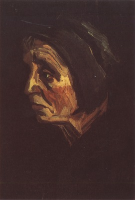 old female peasants head with dark coif, nuenen