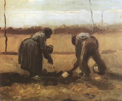 peasants planting potatoes, nuenen