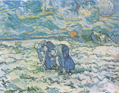 peasants digging a snow field, saint remy