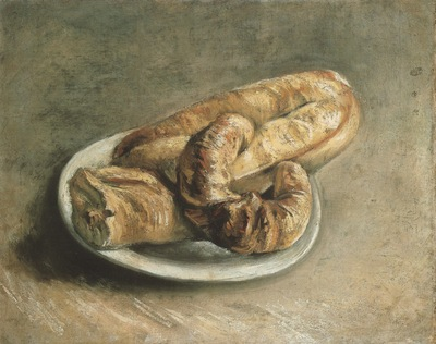 plate with bread, paris