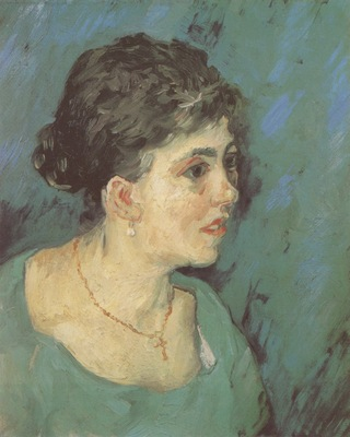 portrait of a woman in blue, nuenen