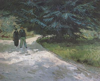 public garden with couple and blue fir tree the poets garden iii , arles