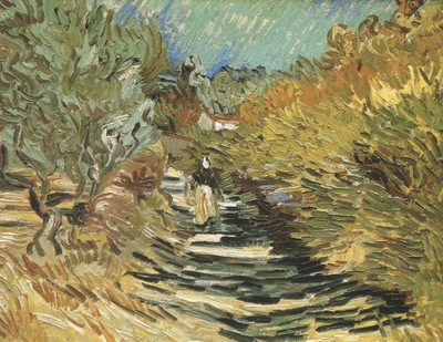 road at saint remy with female figure, saint remy