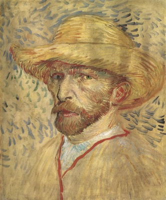 self portrait with straw hat, paris