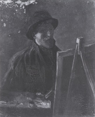 self portrait with dark felt hat at the easel, nuenen