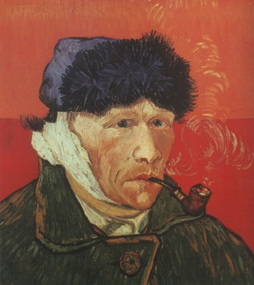 self portrait with linked ear and pipe, arles