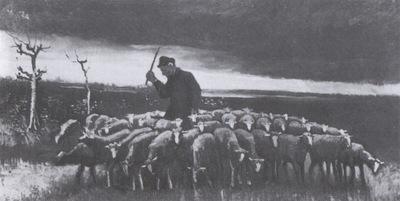 shepherd with flock of sheep, nuenen