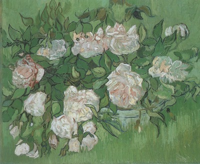 still life, pink roses, auvers sur oise