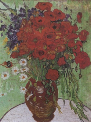 still life, red poppies and daisies, auvers sur oise