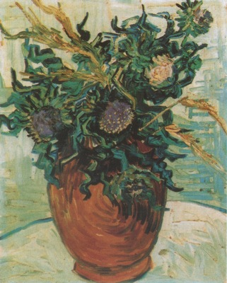 still life, vase with flower and thistles, auvers sur oise
