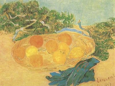 still life oranges, lemons and blue gloves, arles