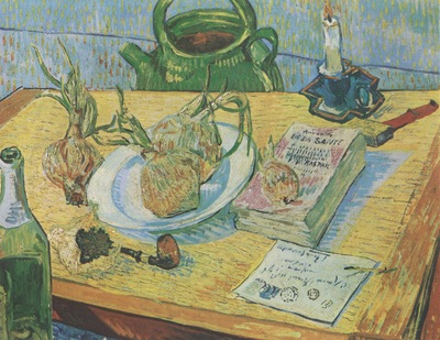 still life slate design, pipe, onions and sealing, arles