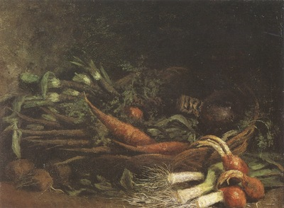 still life with basket of vegetables, nuenen
