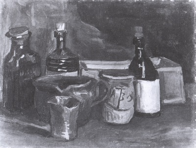 still life with ceramic dishes, bottles and a box, nuenen