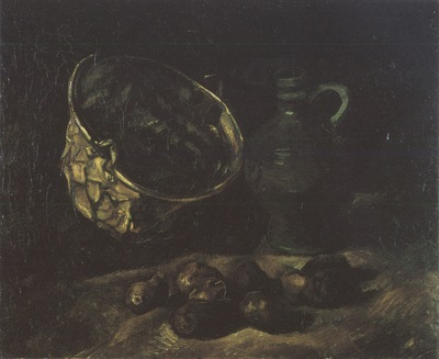 still life with copper boiler, jug and potatoes, nuenen