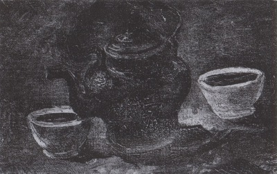 still life with copper percolator and two white pots, nuenen