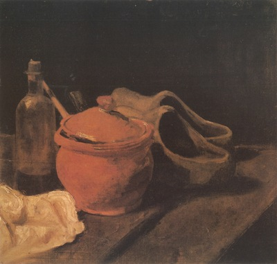still life with crockery, bottle and clogs, nuenen