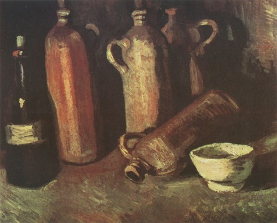 still life with four stoned bottles, flask and white bowl, nuenen