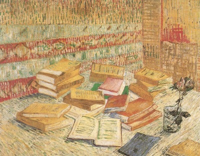 still life with french novels and a rose, paris