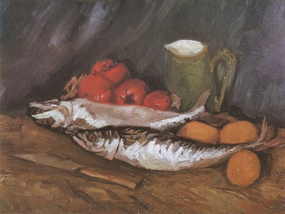 still life with mackerel, lemons and tomatoes, paris