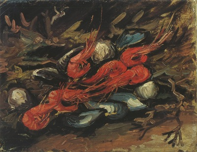 still life with mussels and shrimps, paris