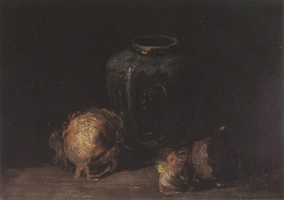 still life with onions and a bottle of ginja, nuenen