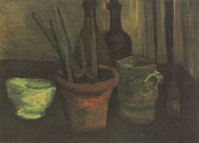 still life with paintbrushes in a pot, nuenen