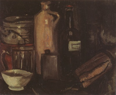 still life with pots, jar and bottles, nuenen
