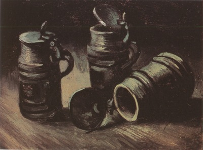 still life with three mugs of beer, nuenen