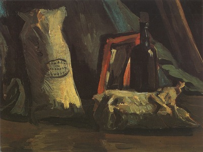 still life with two sacks and a bottle, nuenen
