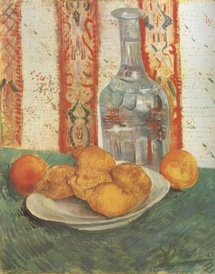 still life with a bottle and lemons on a plate, paris