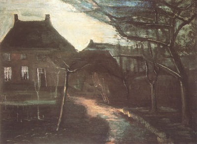 the nuenens presbytery in the moonlight, nuenen