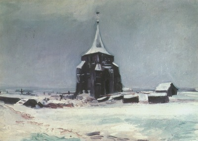 the old cemetery tower nuenen with snow, nuenen