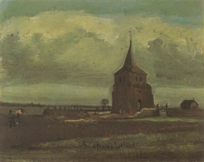 the old nuetens tower with peasant, nuenen