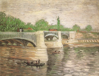 the river seine with the la grande jattes bridge, paris