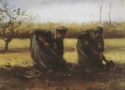 two female peasants digging potatoes, nuenen