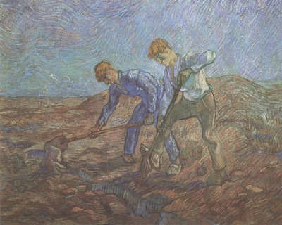 two peasants digging, saint remy