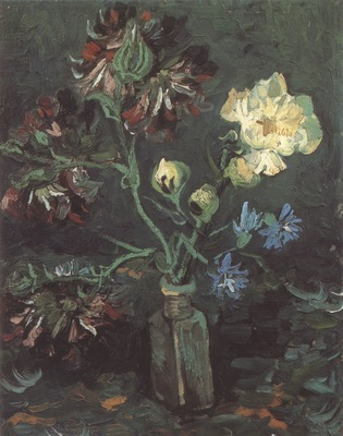 vase with miosotis and peony, paris