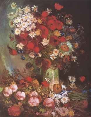 vase with poppies, loios, peonies and chrysanthemums, paris