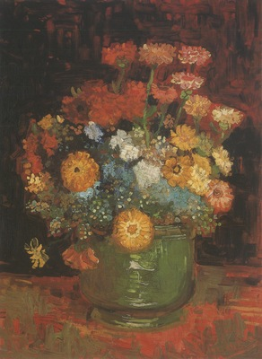 vase with zinnias, paris