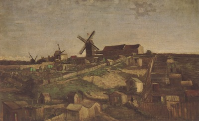 view of montmartre with windmills, paris