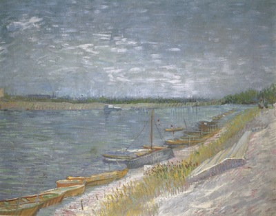view of a river with rowing boats, paris