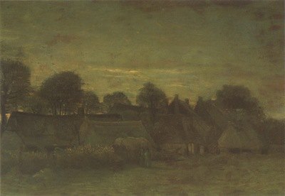 village at sunset, nuenen